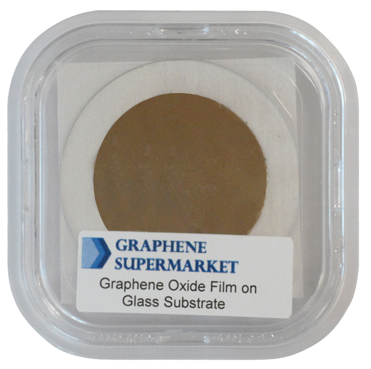 A graphene oxide thin film deposited on glass sold on the Graphene Supermarket